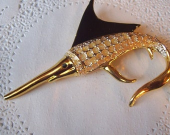 Swordfish Brooch (65) - Enamel Swordfish Brooch - vintage jewelry - Swordfish jewelry
