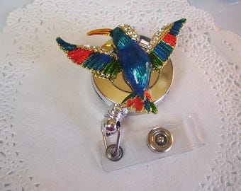 Hummingbird ID Holder (180) - Hummingbird Badge Reel - Hummingbird Name Badge - Repurposed jewelry - hummingbird jewelry