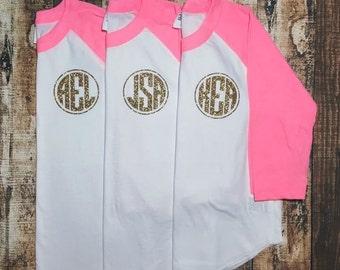 Gold Glitter Monogram Raglan - Personalized Baseball Tee - Monogram Shirt