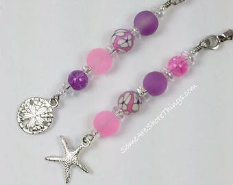 Pink and Purple Ceiling Fan and Light Pull Chains Set with Starfish and Sand Dollar Charms.  Nursery or Little Girl's Bedroom Decoration.