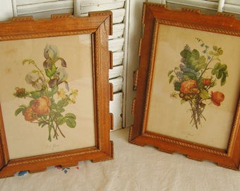 Vintage Pair Framed Cottage Chic Prevost Botanical Floral Prints Wall Art Decor Feminine Floral Prints