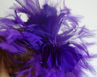 large  purple feather  fascinator