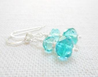 Aqua Blue Czech Glass Earrings, Dainty Blue Glass Beaded Drop Earrings, Czech Glass Jewelry, Silver Dangle Earrings, Jewelry Gift for Her