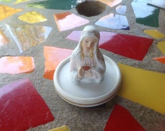 Vintage hand painted ceramic Lefton China Virgin Mary trinket tray- Japan