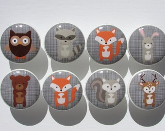 Woodland Animal Grey Checked Background Dresser Drawer Knobs Set of 8