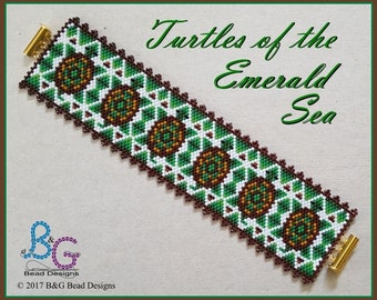 TURTLES of the EMERALD SEA Peyote Cuff Bracelet Pattern
