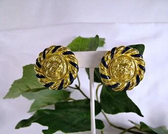 Vintage 1980's Anne Klein Large Gold & Black Trim Lion Head Clip Earrings