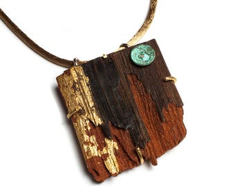Rustic Pendant, wood, patina with silk lace