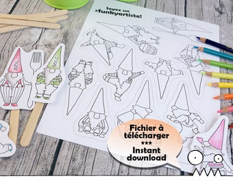 DIY plante markers, garden gnome --- gnome, elf, elves, dwarf, cute drawing, coloring image, crafting, to download, by Les Funky