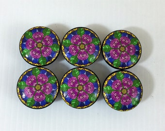 Set of 6 Purple Daisy Flower Cabinet Knobs