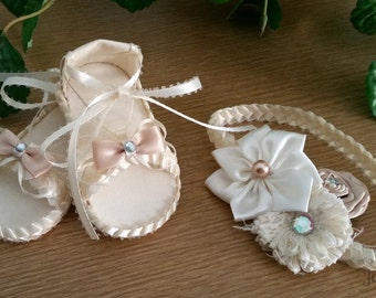 Handmade Baby Girl Sandals and Headband - Beautiful Baby Shower Gift for Girl- Stylish Baby Sandals - Cream Baby Girl Sandals with Headband