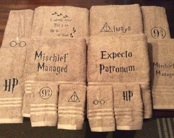 Harry Potter towels with quotes or symbols you choose which symbols