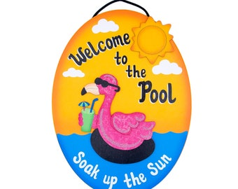 Personalized-Outdoor Pool Sign - Welcome To The Pool-Flamingo