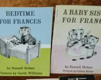 Vintage FRANCES Books 2 Badger BEDTIME for Frances & A Baby Sister for Frances Childrens Story Books Kids Child 60s Stories Paper Ephemera