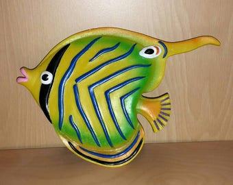 Vintage Kitsch Angel Fish Wall Hanging Tropical Fish Plaque 60s 70s Exotic Fish Bathroom Decor Ceramic