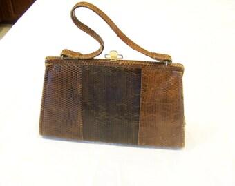 Vintage brown snakeskin top-handle purse with brass lock