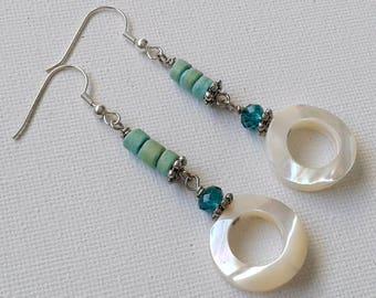 Long mother of pearl earrings,  mother of pearl hoop earrings, blue and white earrings