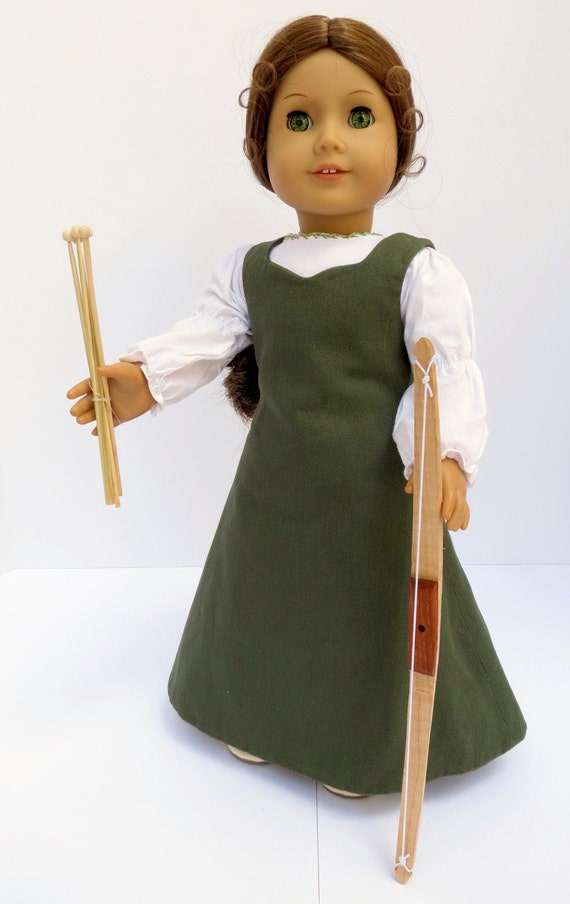 Doll BOW & ARROW set  Handcrafted for 18 Inch dolls such as American Girl®  Wood bow and five arrows