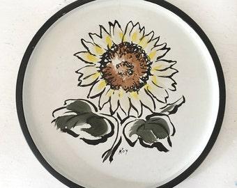 Mid Century Round Decorative Tin Vintage Round Sunflowers Tin Mid Century Nashco Products Roy Sunflower Tin Tray Mid Century Gift Idea