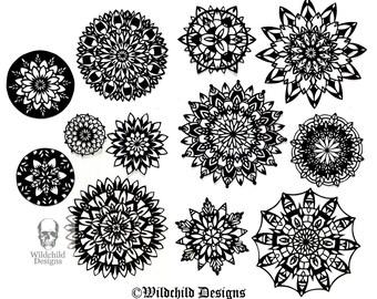 12 x Mandala bundel voor Beginners - Intermediate commerciële & persoonlijk gebruik papier Cut-sjabloon Papercut door Wildchild ontwerpt praktijk DIY