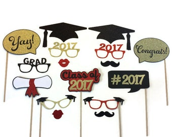 Graduation Photo Booth Props- Graduation Party 16 Piece Set With Glitter
