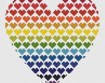 Rainbow Hearts Cross Stitch Pattern PDF ** Instant Download **