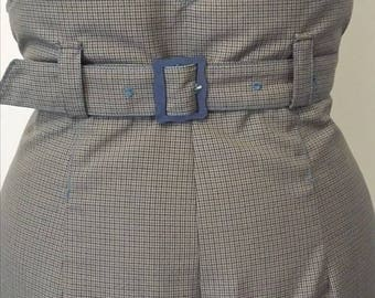 """1930s style highwaist and wide leg trousers in airforce blue and brown check - Waist 30"""" UK Size 12 M"""