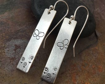 Sterling Silver Earrings || French Hook with Clasp || Hand Stamped Butterfly Garden
