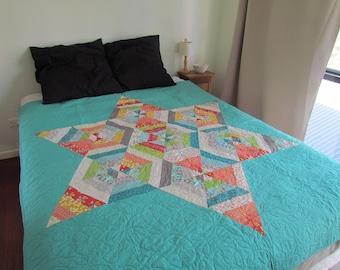 Hexagon Star Quilt | Aqua Star Quilt | Modern Quilt