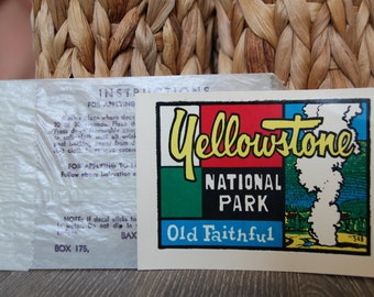 Vintage Yellowstone Naional Park Water Decal