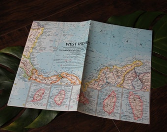 Vintage 1962 Map of The West Indies - National Geographic