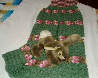 Mermaid Tail Blanket - Hand Crocheted - Sack Blanket