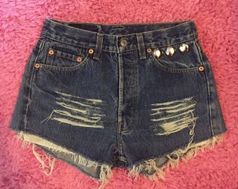 Levis 501 High Waisted Shorts Levi 501 Shorts Vintage Levi High Waisted Jean Shorts High Waist Shorts Denim Cutoffs size S/ 28 distressed