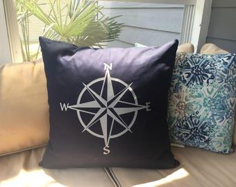 "Compass Rose Pillow Cover • 20"" x 20"" • Nautical Pillow Cover"