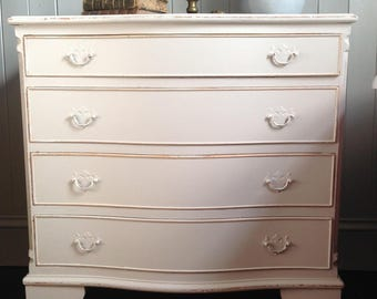 Vintage bow front chest of drawers
