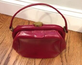 Vintage Elite Red Leather Kelly Style Handbag