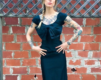 Vintage Black Dress // Silky Black Vintage Dress // 1950s Black Dress // 1960's Black Dress // Small Black Dress // Short Sleeve Black Dress