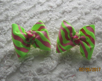 Dog Hair Bows Can Mix and match with any of my bows, Lime Green and Hot Pink dog bows, bows