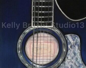 Taylor Guitar, Original Pastel Painting