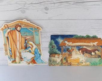 Vintage Pair of Religious Christmas Die Cut Wall Hangings, Vintage Nativity Die Cut
