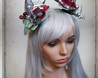 Silver Horns Headdress ( Devil,  fantasy,  costume, fairy, roses, fascinator, vegan )
