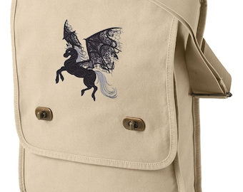 Ghost Pegasus Embroidered Canvas Field Bag