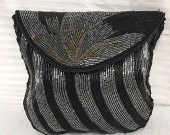 Art deco clutch,beaded clutch,purse,formal purse,bag,Black,bronze,silver