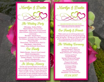 "Wedding Program Template Tea Length Program Heart Wedding Program Timeline - Ceremony Program DIY Wedding Program Download ""Entwined Hearts"""