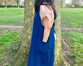 Japanese Apron Smock Dress in Blue Pure Heavyweight Linen for Petticoat Layering
