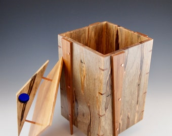 Quality wood box with blenko glass accent; spalted ambrosia maple keepsake box, memory box from maple and cherry