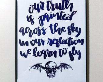 8 x 10 Avenged Sevenfold Lyrics Hand Lettered Calligraphy Print w/ Frame
