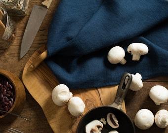 Linen Tea Towel Oxford Blue