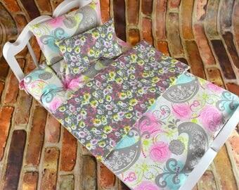 "American Girl Doll Bedding Set w Mattress | Grey Bird print | 18"" Doll Bedding Blanket Pillows Mattress  | American Girl Bedding"