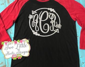 Monogrammed Raglan Tee ~ Raglan 3/4 Sleeve Shirt ~ Baseball Shirt ~ Glitter Monogram